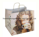 Moda Customized Logotipo Imprined Art Paper Carrying Bag with Ribbon Handle