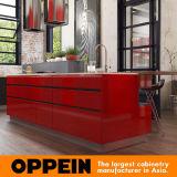Oppein moderner roter industrieller hoher glatter Lack-hölzerne Küche Cbinet (OP16-L25)