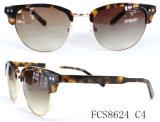 Formato Oval e metal com acetato de marcação para as mulheres óculos de sol óculos