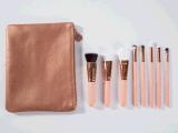 8PCS de hoogste Kwaliteit nam de Gouden die Borstel van de Make-up met de Zak van Pu wordt geplaatst toe