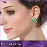 새로운 디자인 녹색 입방 지르코니아 장식 못 브라질 금 귀걸이