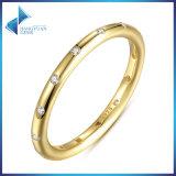 공장 직접 18k 금은 925 순은 반지 보석을 도금했다