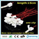 8mm de Kabel van de Schakelaar van Solderless van 2 Speld voor het 3528 Enige Waterdichte LEIDENE van de Kleur Licht van de Strook