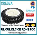 Bahía del UFO LED de Ra80 PF0.9 130lm/W alta para la exposición de las fábricas