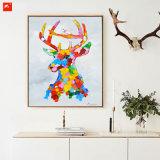 ポップアートのオオシカの多彩なアメリカヘラジカの油絵