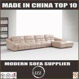 Einfacher Entwurfs-hölzernes Rahmen-Leder-Sofa L Form