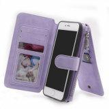 Неподдельный случай сотового телефона кожи бумажника коровы с магнитом для Samsung S8, края S8