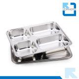 4 Les diviseurs de plateau en acier inoxydable servant de nourriture avec compartiments divisé le bac d'aliments