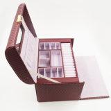 Роскошная коробка кожи ювелирных изделий бархата главного качества (J01-F)