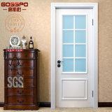 Porte en bois intérieure de cuisine en verre blanche simple classique (GSP3-017)
