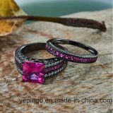Placage rhodium Fashion rose noir argent 925 Bijoux Ring Set