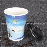 Tazza di carta del caffè a gettare con la maniglia