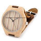 Relógio de madeira de bambu Handmade feito sob encomenda com cinta de couro
