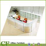 Nouvelle conception Table de réception moderne Bureau de réception en verre transparent Arc