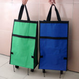 2つの車輪が付いている大きい折るショッピングトロリー袋のカートのハンドバッグの食料雑貨入れの袋