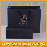 印刷された黒いペーパー包装のショッピングギフト袋