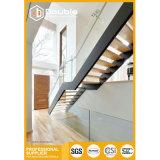 Escalera recta de interior de lujo para el diseño del pasamano de la escalera