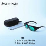 Óculos de proteção protetores O.D3+@630-660nm/O.D5+@800-830nm do laser do laser 808nm 635nm do diodo para tratamentos do laser