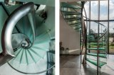 손잡이지주를 가진 중국 공장 공급자 유리제 나선형 층계에 의하여 이용되는 나선형 계단