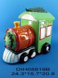 Vaso di biscotto di ceramica del treno di natale