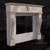 Mensola del camino di marmo del camino intagliata mano del Vecchio Mondo con il ritratto capo in travertino bianco