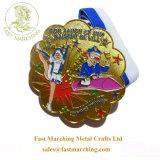工場価格のカスタムおかしい正方形の円形浮彫りのめっきの謝肉祭のエナメルメダル