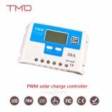 Intelligent 12 Volt 30 AMP 30um controlador de carga solar PWM com controle de tempo e retroiluminação do LCD