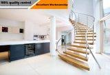 Moderner Entwurfs-hölzernes Treppenhaus mit Glasgeländer-Edelstahl-Balustrade