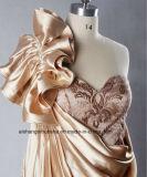 Champagne färbte Schulter-Abend-Kleid der Seite-Drapped Fußleisten-eine