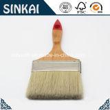 Brosse à peinture plate avec poignée en bois et poils mélangés