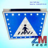 Solar de aluminio LED parpadeando señal de tráfico para el paso de peatones