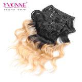 Clip de las extensiones del pelo de Ombre en pelo humano