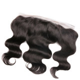 cabelo peruano do Virgin do fechamento do laço do Toupee do cabelo humano do cabelo 100 da onda do corpo 13X4