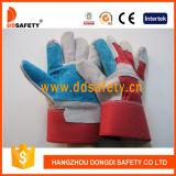 Ddsafety 2017の青い補強された皮手袋の赤い綿背部安全手袋
