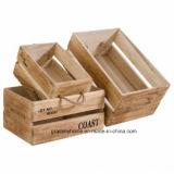 Accueil Fournitures de bureau de l'Organiseur de stockage de 4 morceaux de boîtes de la Caisse de jardin en bois marron