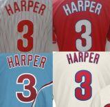 Mejor Phillies personalizadas #3 Bryce Harper cosidas Camiseta de béisbol