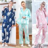 Silk Sleepwear-Dame-neue lange Hülse keucht Housewear Klage zwei Stück-lange Sleeved Hose