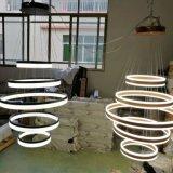 Indicatore luminoso Pendant acrilico del LED del soffitto di rossoreare dell'anello moderno luminoso del supporto LED, indicatore luminoso di alluminio circolare di profilo