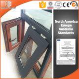 Marco de ventana Villa Uso Final de madera del grano del exterior de aluminio, América y Australia Estilo de madera sólida Ventana Toldo para Villa