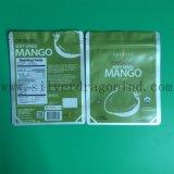 Saco de cosméticos plásticos de cor verde com fecho de correr