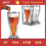 Boca fundido doble pared de la cerveza de la copa de vidrio de borosilicato