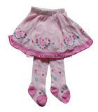 Колготки колготков танцы хлопка ребенка белых, розовых колготков младенца симпатичное
