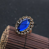 Het goedkope Bergkristal van de Legering en de Blauwe Halfedelsteen Beslagen Ring van de Vinger voor Dame