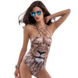 Сексуальный костюм заплывания печатание льва для сексуальных женщин