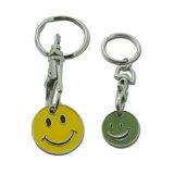 工場価格の微笑のロゴのトロリー硬貨のキーホルダー