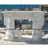 Белой камин льва высеканный поверхностью мраморный (SY-MF022)