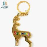 Metal feito sob encomenda relativo à promoção Keychain do logotipo da jovem corça do anel chave do esmalte da liga do zinco dos artigos do Natal