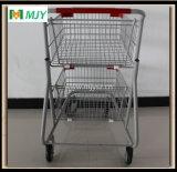Caddie américain en métal de supermarché de deux paniers Mjy-C80
