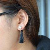 2개의 색깔 절묘한 밧줄 술 수정같은 두 배 편들어진 하락 귀걸이