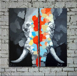 Paintings의 거실 Decor Elephant Group를 위한 Canvas Wall Art Paintings에 최신 Hand Painted Abstract Animals Oil Painting